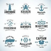 Set of Vintage Nautical Labels and Signs With Retro Typography Anchors Steering Wheel Knots Seagulls and Wale on Isolated Background poster