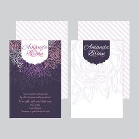 Set of wedding invitations card purple background 02