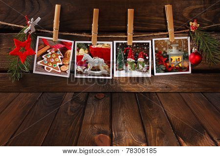 Empty Wooden Floor And Christmas Photos Hanging On Twine