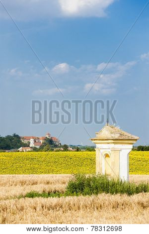 God's torture with sunflower field and Jaroslavice Castle, Czech Republic