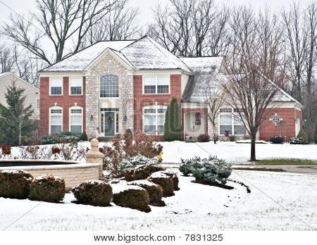 Suburban Neighborhood Brick Home