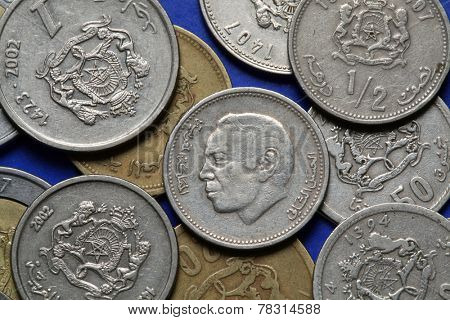 Coins of Morocco. King Hassan II of Morocco depicted in the Moroccan dirham coins. poster