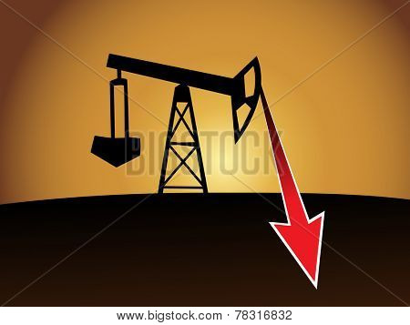 oil well silhouette with red price drop arrow