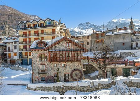 Typical houses in alpine resort of Limone Piemonte in Piedmont, Northern Italy.