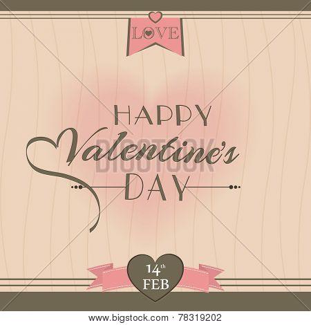 Happy Valentine's Day celebration vintage greeting card or love card design.