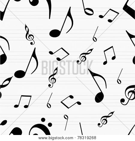 Musical seamless pattern with musical notes.