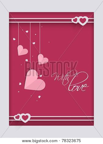 Beautiful love greeting card with hanging pink hearts for Valentine's Day celebration.