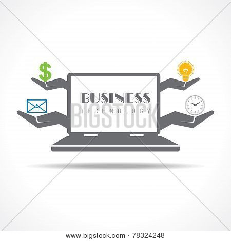 Business technology concept with laptop stock vector