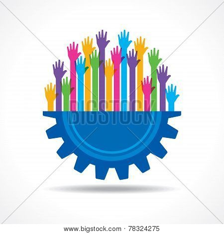 Colorful raised hand on the half gear symbol stock vector