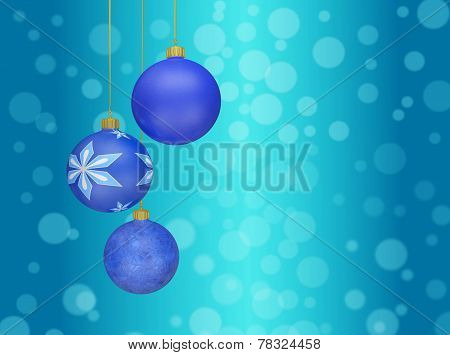 Christmas Ball Baubles Hanging Against Bokeh