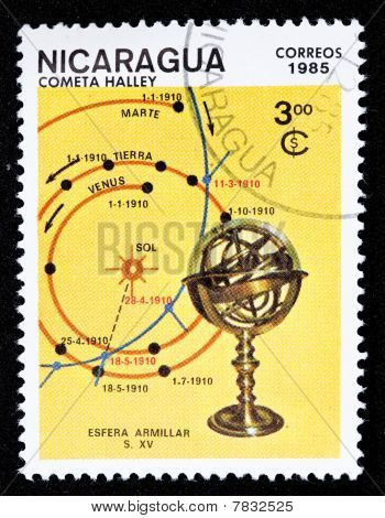 Canceled Nicaraguan stamp of the comet Hally poster
