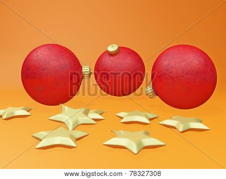 Christmas Decoration Balls Baubles And Golden Stars