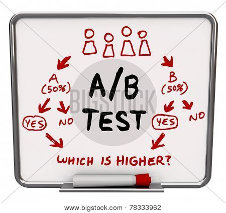 A/B Test words written on a dry erase board with diagram or flowchart illustrating how a dual input experiment can find the better solution, platform or message for your audience