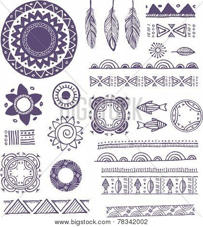 Tribal, Bohemian Mandala background with round ornaments, patterns and elements. Hand drawn vector illustration