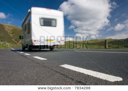 Camper Van On Mountain Road