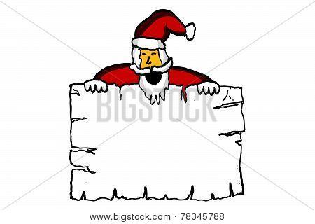 Santa Claus And Blank Paper