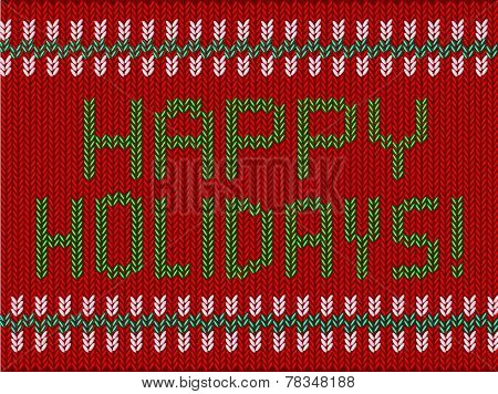 Happy Holidays Knitted Graphic with Text