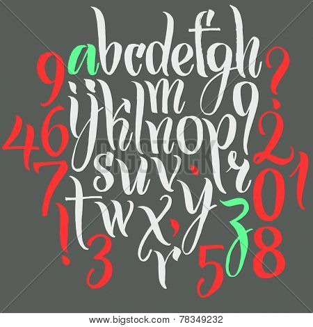 Vector alphabet. Hand drawn letters. Letters of the alphabet written with a brush