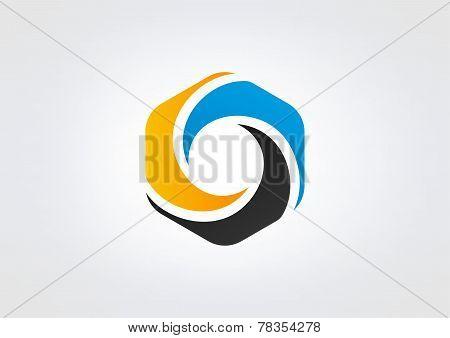 hexagon business logo abstract cube swirl symbol Design