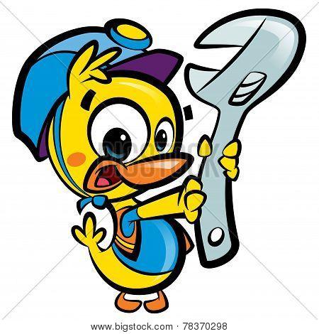 Diy Do It Yourself Cartoon Baby Duck Plumber Fixing Plumbing