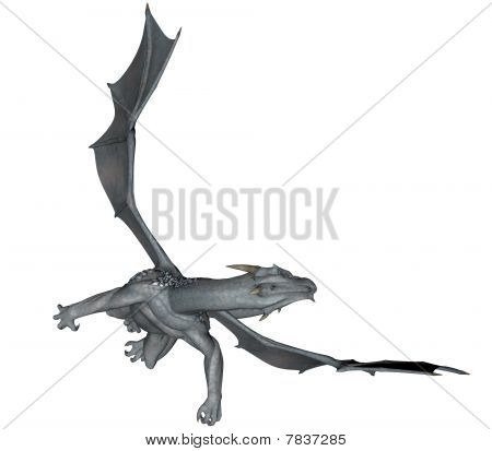 3D rendered flying frost dragon isolated on white background poster