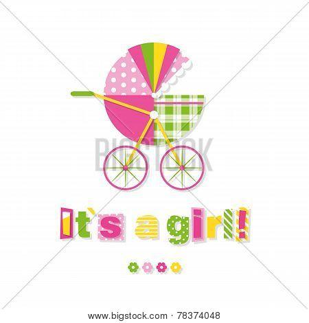 baby girl stroller greeting card