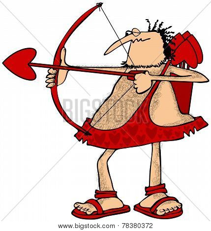 This illustration depicts a hairy Cupid drawing back on his red bow and aiming a love arrow. poster