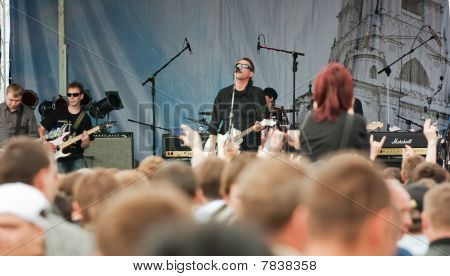 """Rock Band """"akusticheskiy Les"""" Appeares In The Open Air"""