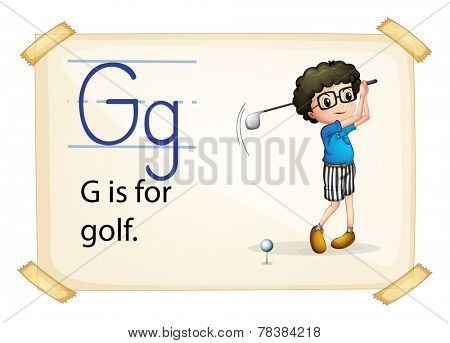 Illustration of alphabet G is for golf