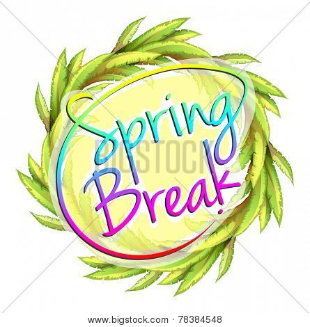 A spring break template on a white background