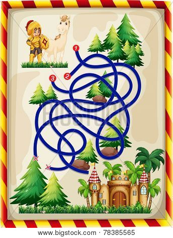 Illustration of a maze game with a knight and a castle