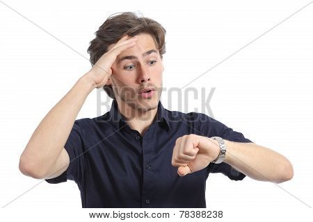 Worrier Man Running Out Of Time Looking His Watch