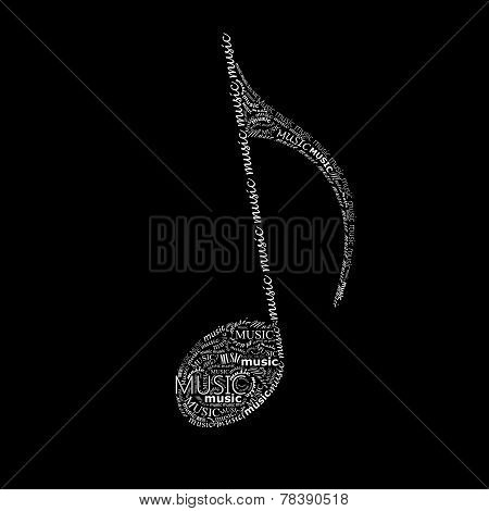 vector illustration with music note sign made of different fonts.