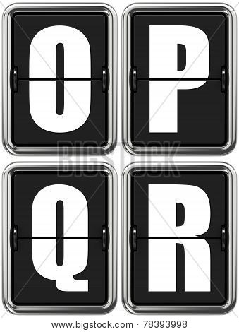 Letters O P Q R on Mechanical Scoreboard.