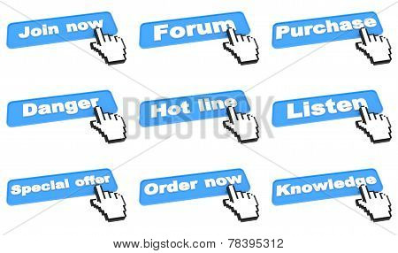 Web Buttons with Hand Cursor.