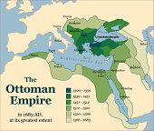 The Ottoman Empire at its greatest extent in 1683. Vector illustration. poster