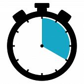 Black and blue Stopwatch Icon showing : Minutes / Seconds / Hours poster