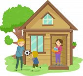 Illustration of a Family Bonding Together in the Front Yard of Their Tiny House poster