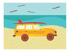 Car on Beach with Surfboard