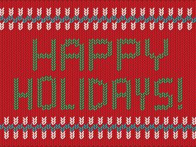 Happy Holidays Knitted Vector