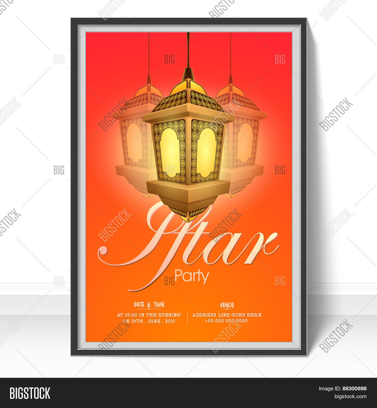 Beautiful invitation card design vector photo bigstock beautiful invitation card design for iftar party with illuminated lantern for islamic holy month of prayers stopboris Images