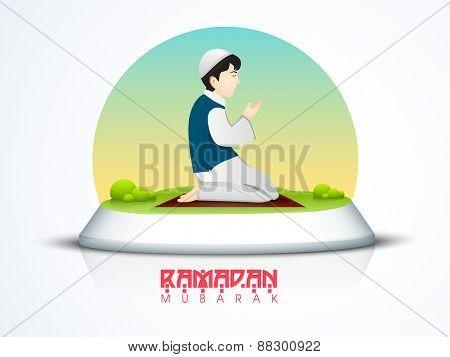 Islamic holy month of prayer, Ramadan Kareem celebration with illustartion of a boy offering Namaz (Muslim Prayer).