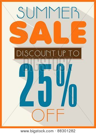 Summer Sale poster, banner or flyer design with 25% discount offer. poster