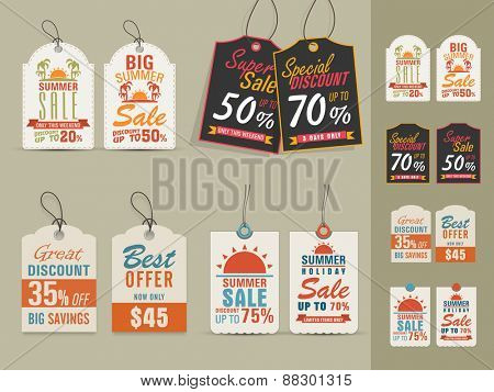 Collection of vintage tags or labels for Big Summer Sale with special discount offers.