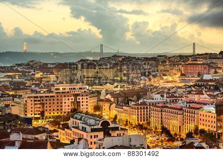 Lisbon, Portugal skyline at sunset.