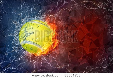 Tennis ball on fire and water with lightening around on abstract polygonal background. Horizontal layout with text space.