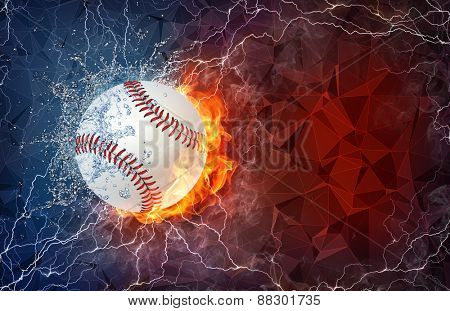 Softball ball on fire and water with lightening around on abstract polygonal background. Horizontal layout with text space.