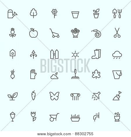 Gardening icons, simple and thin line design