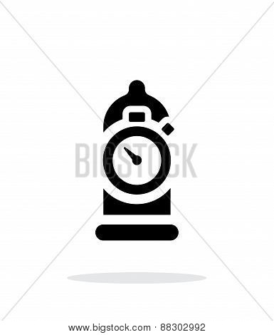 Condom with sex timer icon on white background.