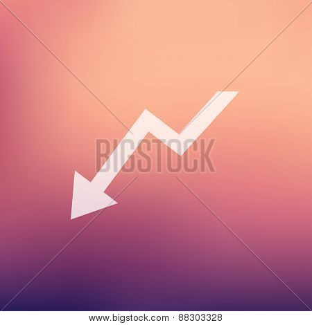 Lightning arrow downward icon in flat style for web and mobile, modern minimalistic flat design. Vector white icon on gradient mesh background
